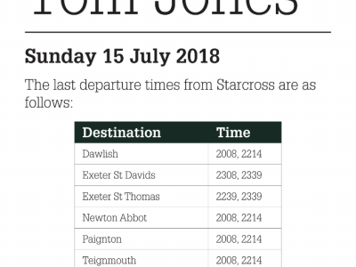 Train times for Tom Jones